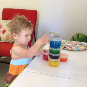 Stacking finger paint is serious business.