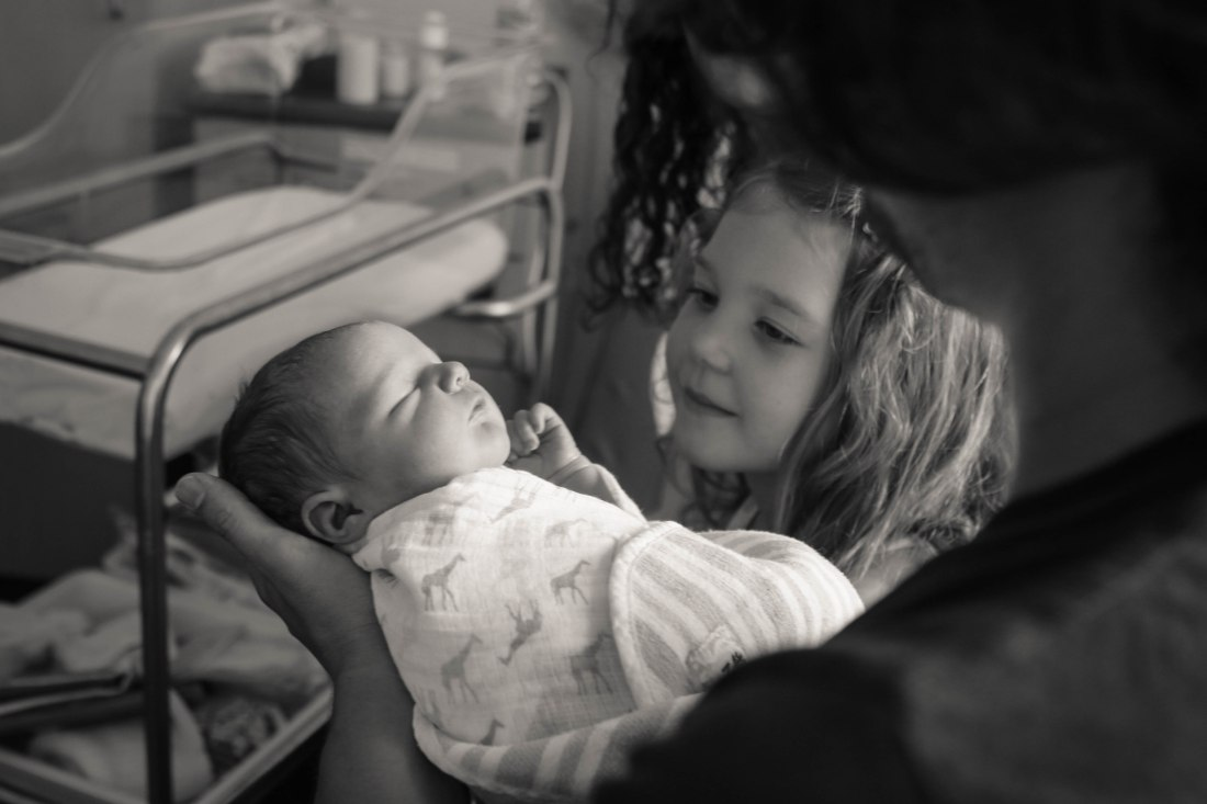 newborn baby and her cousin