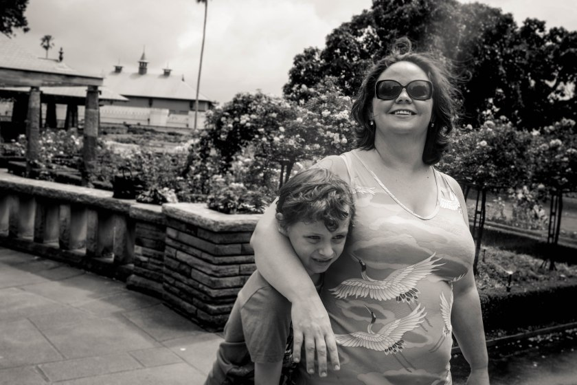 Mum and tween son hanging out in the gardens by Sharon-Troy Baldwin Documentary Family Photography