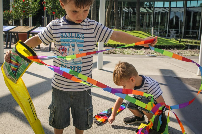 Four year old twin boys with a rainbow kite by Sharon-Troy Baldwin Documentary Family Photography